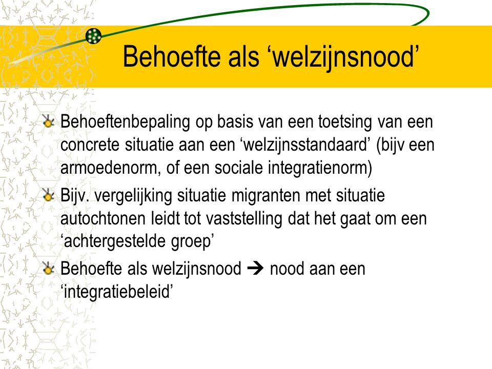 Behoefte als 'welzijnsnood' Behoeftenbepaling op basis van een toetsing van een concrete situatie aan een 'welzijnsstandaard' (bijv een armoedenorm, of een sociale integratienorm) Bijv.