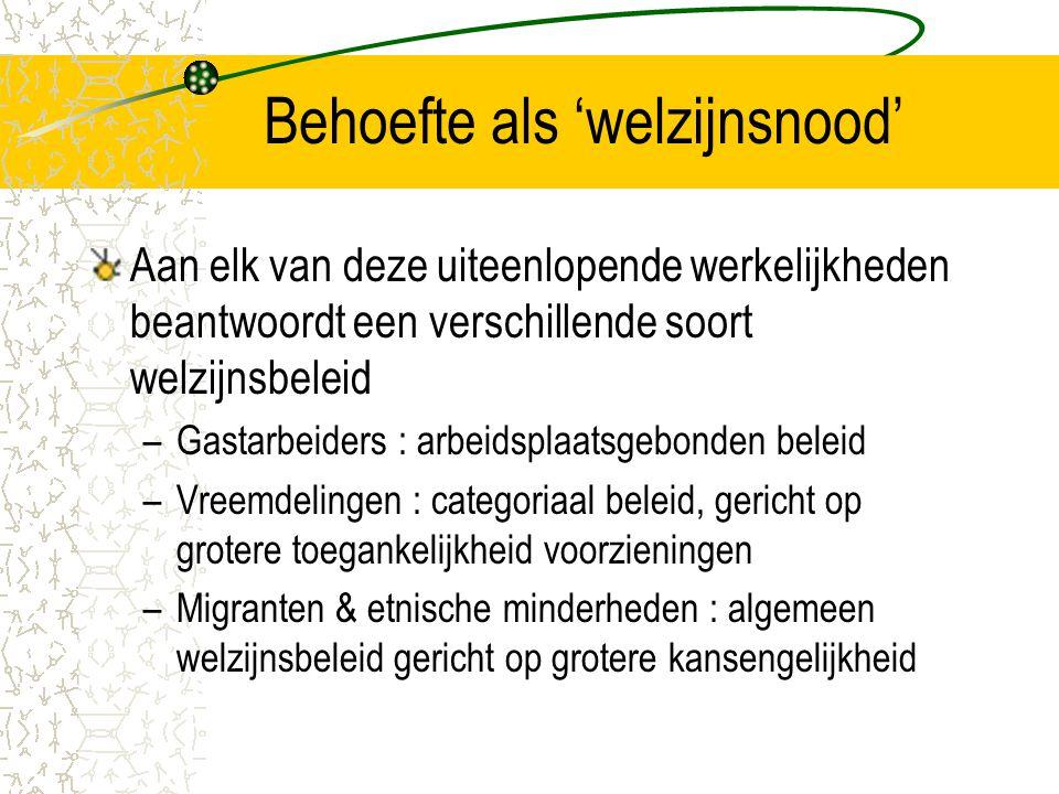 Behoefte als 'welzijnsnood' Aan elk van deze uiteenlopende werkelijkheden beantwoordt een verschillende soort welzijnsbeleid –Gastarbeiders : arbeidsplaatsgebonden beleid –Vreemdelingen : categoriaal beleid, gericht op grotere toegankelijkheid voorzieningen –Migranten & etnische minderheden : algemeen welzijnsbeleid gericht op grotere kansengelijkheid