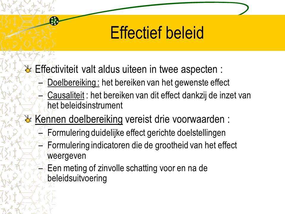 Effectief beleid Vergt het volgen van een bepaalde procedure : –Behoeftenbepaling, via een 'omgevingsanalyse' en diagnose –Bepaling algemene beleidsdoelstellingen –Bepaling operationele beleidsdoelstellingen –Bepaling middelen ('inputs') tot realisatie van bepaalde activiteiten en prestaties ('outputs')die moeten leiden tot de gewenste effecten