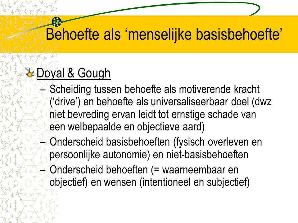 Behoefte als 'menselijke basisbehoefte' Doyal & Gough –Scheiding tussen behoefte als motiverende kracht ('drive') en behoefte als universaliseerbaar d