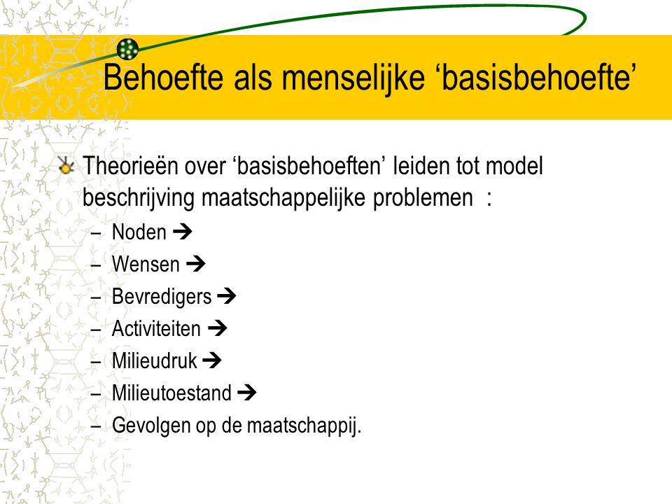 Behoefte als menselijke 'basisbehoefte' Theorieën over 'basisbehoeften' leiden tot model beschrijving maatschappelijke problemen : –Noden  –Wensen  –Bevredigers  –Activiteiten  –Milieudruk  –Milieutoestand  –Gevolgen op de maatschappij.