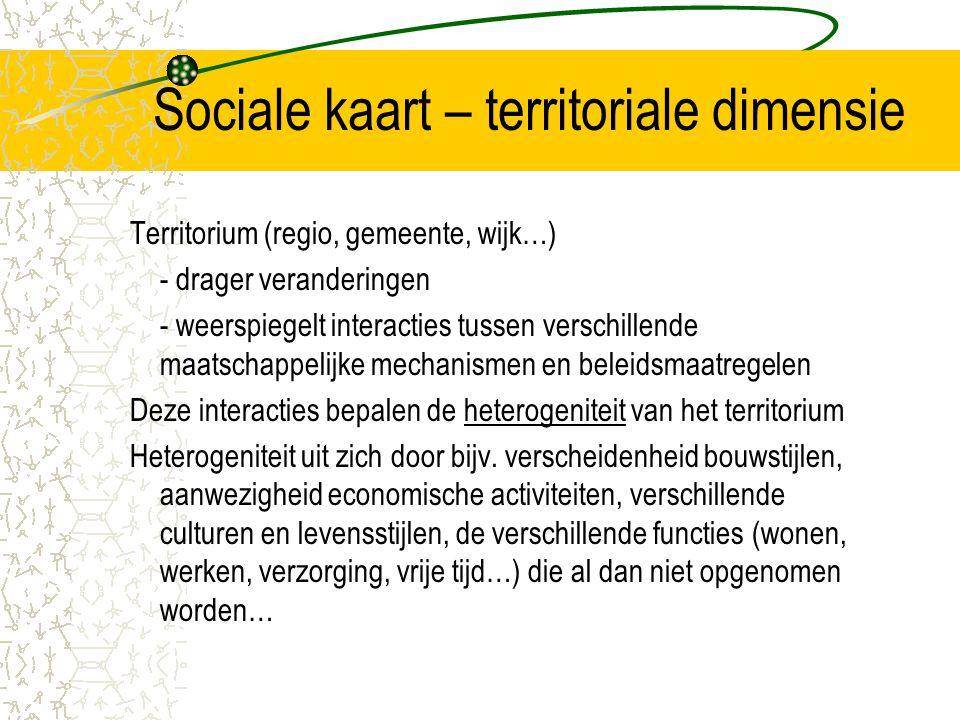 Sociale kaart – territoriale dimensie Territorium (regio, gemeente, wijk…) - drager veranderingen - weerspiegelt interacties tussen verschillende maat