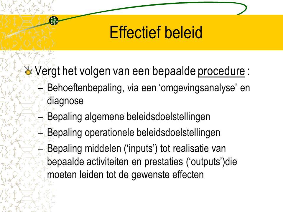 Effectief beleid Vergt het volgen van een bepaalde procedure : –Behoeftenbepaling, via een 'omgevingsanalyse' en diagnose –Bepaling algemene beleidsdo