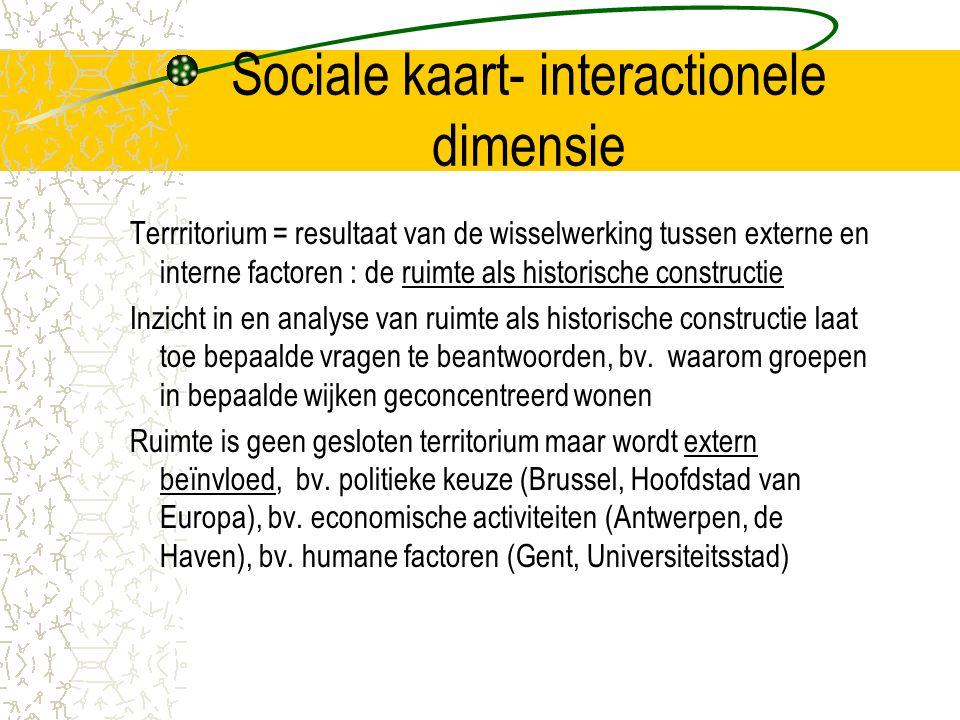 Sociale kaart- interactionele dimensie Terrritorium = resultaat van de wisselwerking tussen externe en interne factoren : de ruimte als historische constructie Inzicht in en analyse van ruimte als historische constructie laat toe bepaalde vragen te beantwoorden, bv.