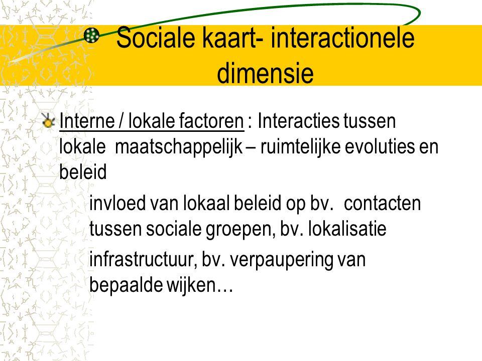 Sociale kaart- interactionele dimensie Interne / lokale factoren : Interacties tussen lokale maatschappelijk – ruimtelijke evoluties en beleid invloed van lokaal beleid op bv.