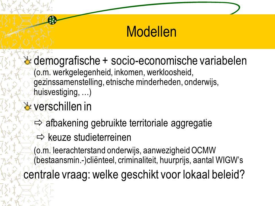 Modellen demografische + socio-economische variabelen (o.m. werkgelegenheid, inkomen, werkloosheid, gezinssamenstelling, etnische minderheden, onderwi
