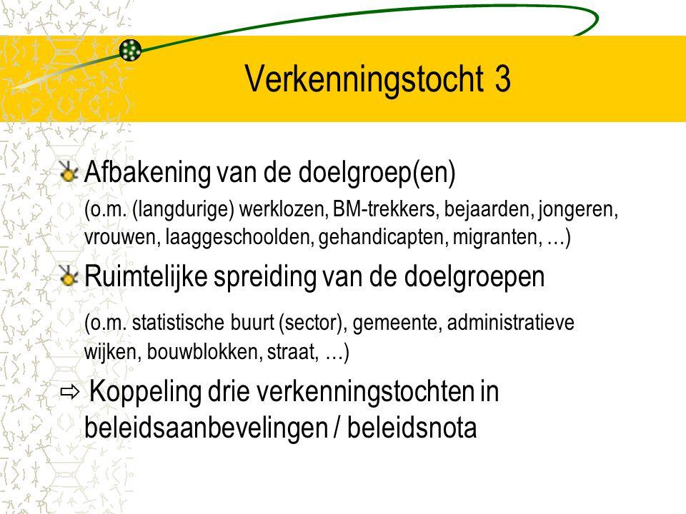 Verkenningstocht 3 Afbakening van de doelgroep(en) (o.m. (langdurige) werklozen, BM-trekkers, bejaarden, jongeren, vrouwen, laaggeschoolden, gehandica