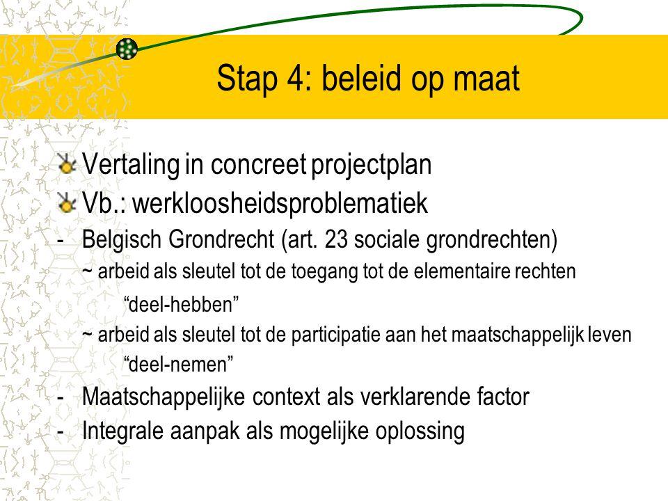Stap 4: beleid op maat Vertaling in concreet projectplan Vb.: werkloosheidsproblematiek - Belgisch Grondrecht (art. 23 sociale grondrechten) ~ arbeid