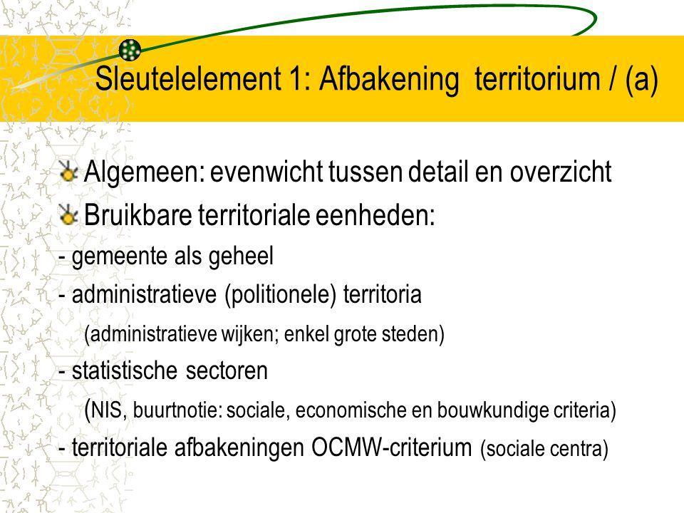 Sleutelelement 1: Afbakening territorium / (a) Algemeen: evenwicht tussen detail en overzicht Bruikbare territoriale eenheden: - gemeente als geheel -