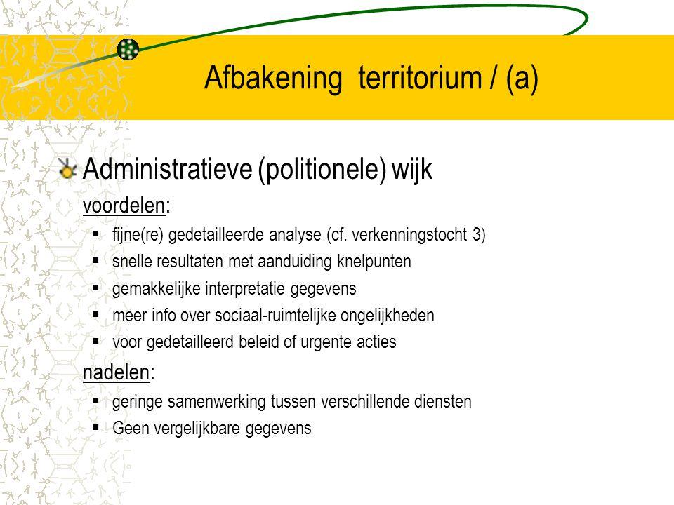 Afbakening territorium / (a) Administratieve (politionele) wijk voordelen:  fijne(re) gedetailleerde analyse (cf. verkenningstocht 3)  snelle result