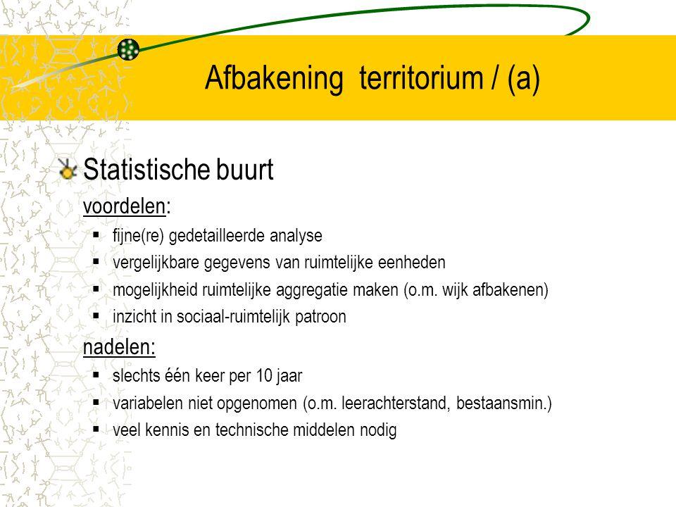 Afbakening territorium / (a) Statistische buurt voordelen:  fijne(re) gedetailleerde analyse  vergelijkbare gegevens van ruimtelijke eenheden  moge