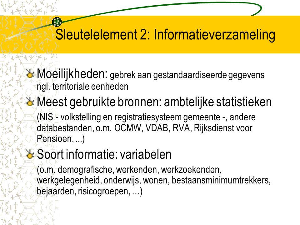 Sleutelelement 2: Informatieverzameling Moeilijkheden: gebrek aan gestandaardiseerde gegevens ngl. territoriale eenheden Meest gebruikte bronnen: ambt