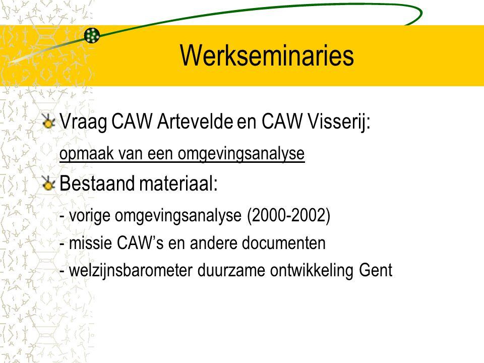 Werkseminaries Vraag CAW Artevelde en CAW Visserij: opmaak van een omgevingsanalyse Bestaand materiaal: - vorige omgevingsanalyse (2000-2002) - missie CAW's en andere documenten - welzijnsbarometer duurzame ontwikkeling Gent