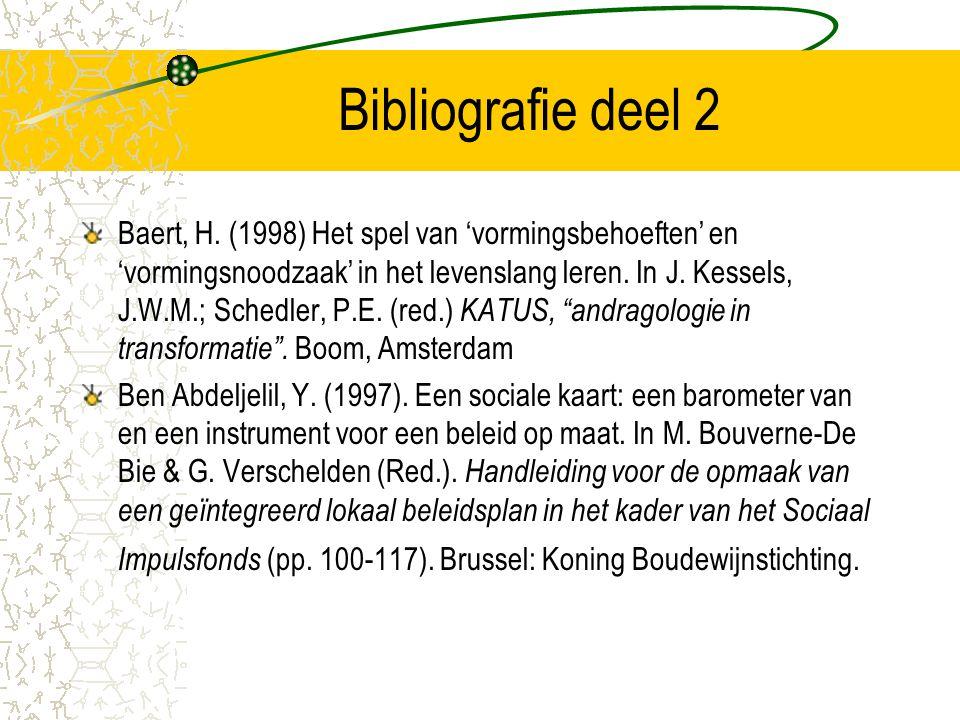 Bibliografie deel 2 Baert, H. (1998) Het spel van 'vormingsbehoeften' en 'vormingsnoodzaak' in het levenslang leren. In J. Kessels, J.W.M.; Schedler,