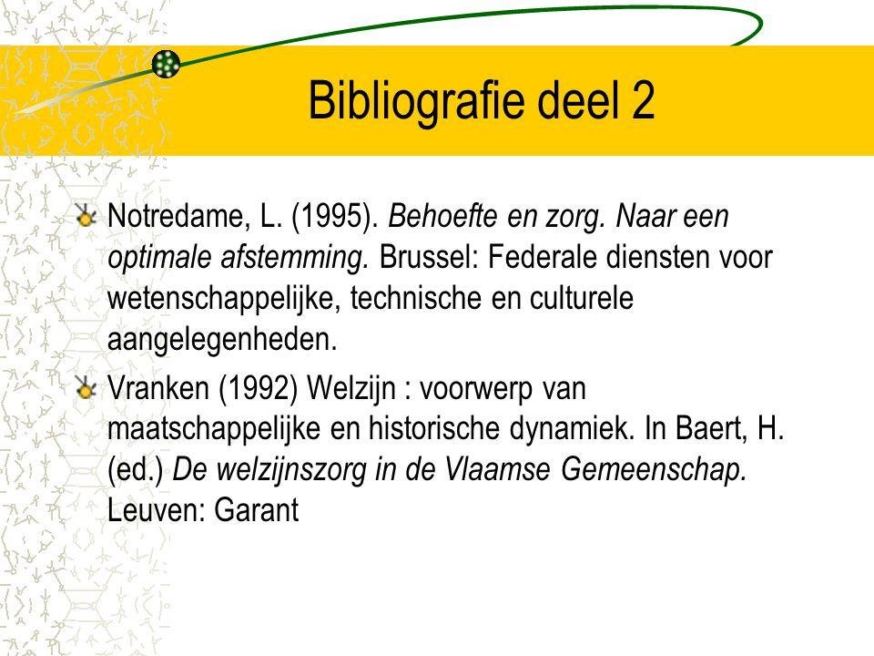 Bibliografie deel 2 Notredame, L. (1995). Behoefte en zorg. Naar een optimale afstemming. Brussel: Federale diensten voor wetenschappelijke, technisch