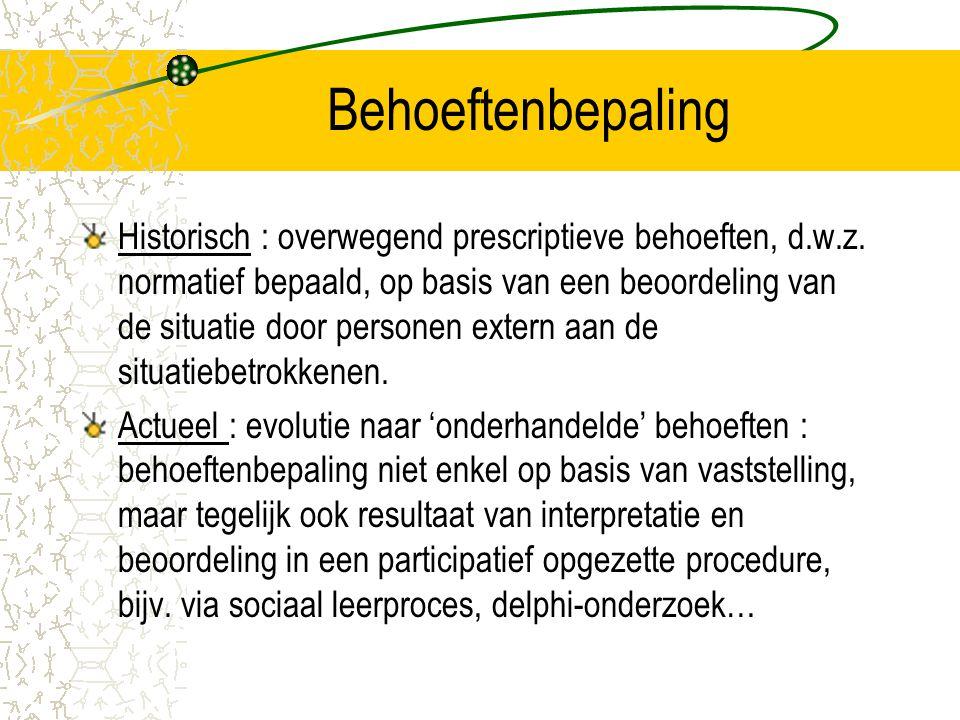 Behoeftenbepaling Historisch : overwegend prescriptieve behoeften, d.w.z. normatief bepaald, op basis van een beoordeling van de situatie door persone