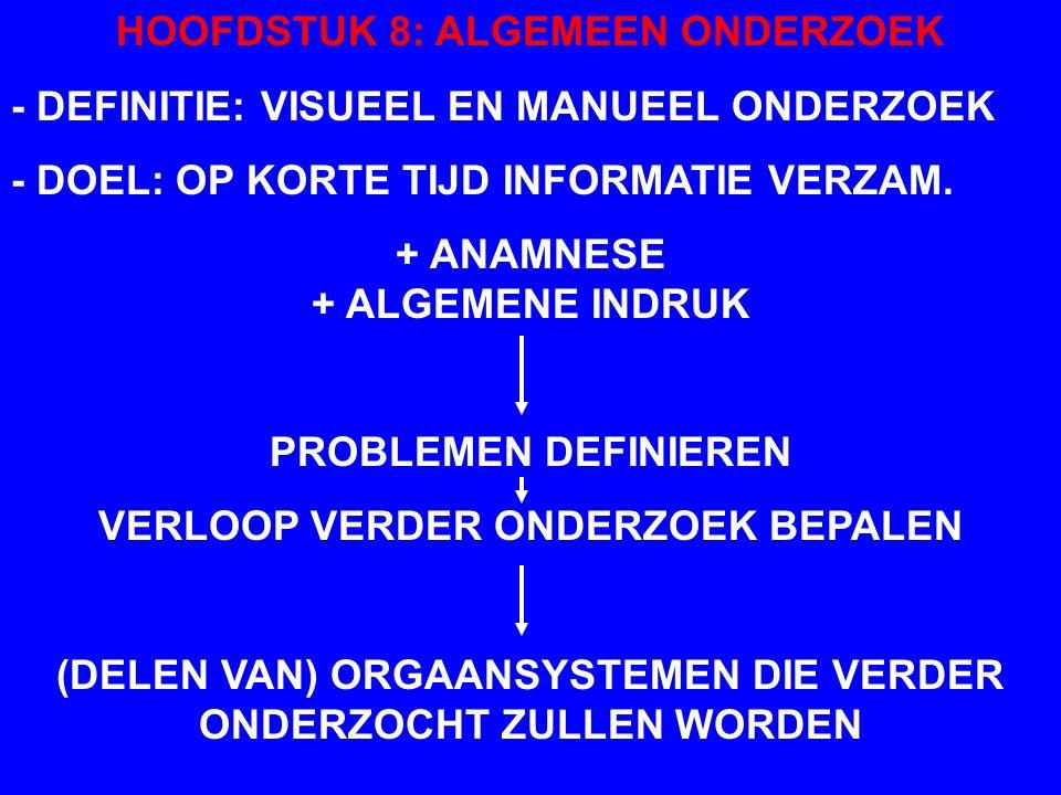 UITVOERING ALGEMENE INDRUK - TIJDENS BINNENLATEN EN/OF ANAMNESE - WEEGSCHAAL - PALPATIE VOOR BEPALING VOEDINGSTOEST. - ANAMNESE NIET STOREN DOOR UITVO