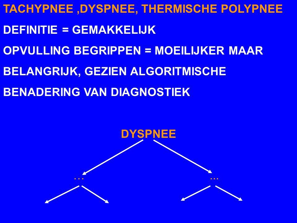 ENKELE BEGRIPPEN TACHYPNEE = VERSNELDE ADEMHALING AANTAL AH/MIN KAN FYSIOLOGISCH ZIJN DYSPNEE = BEMOEILIJKTE, GEFORCEERDE AH DIKWIJLS + TACHYPNEE ALTI
