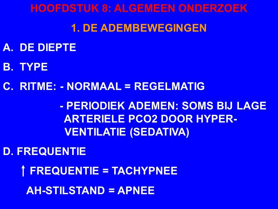HOOFDSTUK 8: ALGEMEEN ONDERZOEK 1. DE ADEMBEWEGINGEN B. TYPE: - NORMAAL: COSTO-ABDOMINAAL - COSTALE COMPONENT VNL BIJ INSPIRATOIRE DYSPNEE - ABDOMINAL