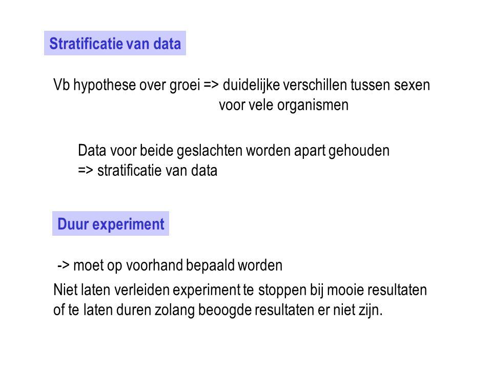 Stratificatie van data Vb hypothese over groei => duidelijke verschillen tussen sexen voor vele organismen Data voor beide geslachten worden apart geh
