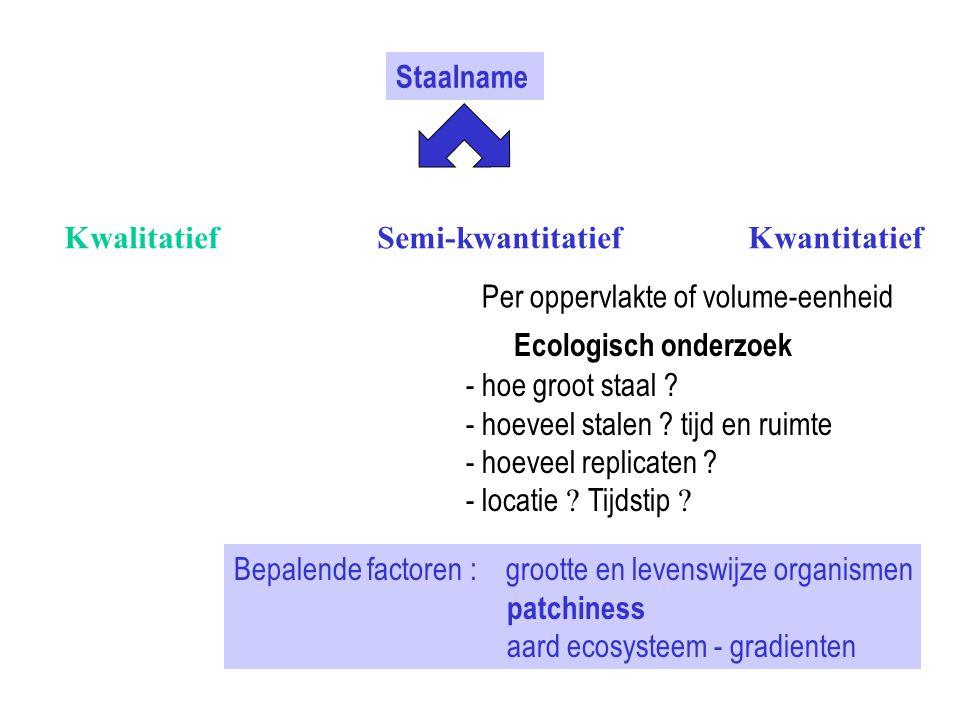 Staalname Kwalitatief Semi-kwantitatief Kwantitatief Ecologisch onderzoek Per oppervlakte of volume-eenheid - hoe groot staal ? - hoeveel stalen ? tij