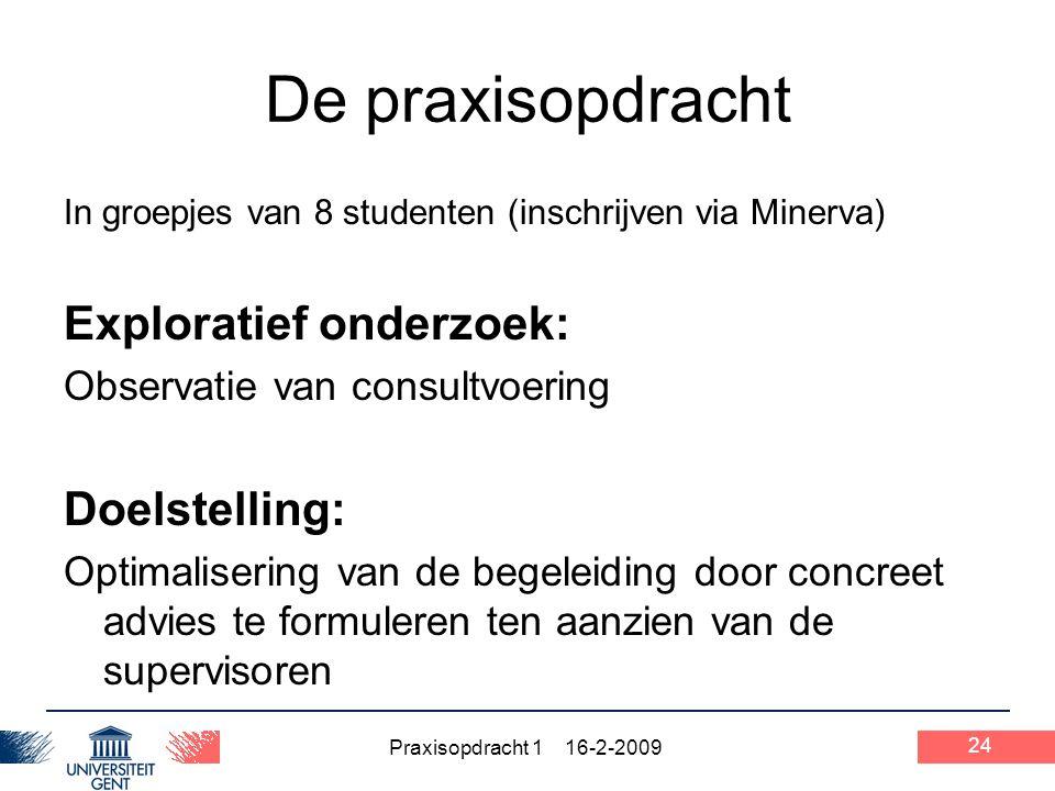 Praxisopdracht 1 16-2-2009 24 De praxisopdracht In groepjes van 8 studenten (inschrijven via Minerva) Exploratief onderzoek: Observatie van consultvoe