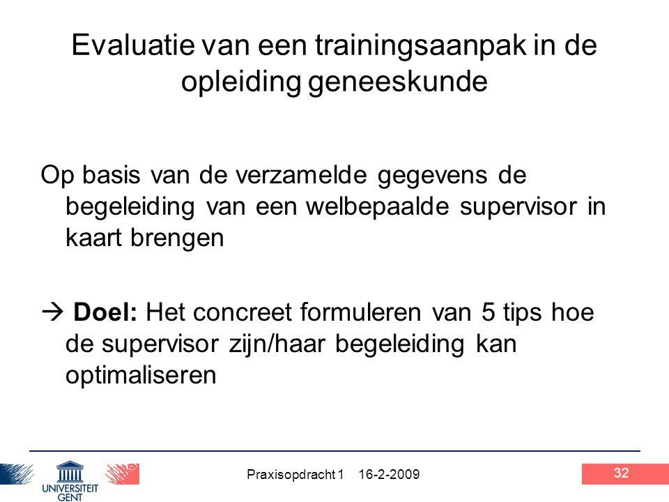 Praxisopdracht 1 16-2-2009 32 Evaluatie van een trainingsaanpak in de opleiding geneeskunde Op basis van de verzamelde gegevens de begeleiding van een