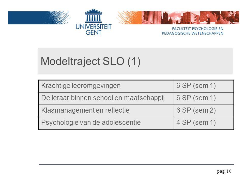 Modeltraject SLO (1) Krachtige leeromgevingen6 SP (sem 1) De leraar binnen school en maatschappij6 SP (sem 1) Klasmanagement en reflectie6 SP (sem 2) Psychologie van de adolescentie4 SP (sem 1) pag.