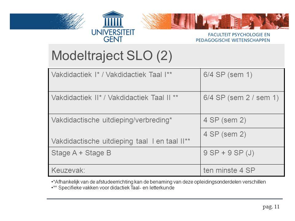 *Afhankelijk van de afstudeerrichting kan de benaming van deze opleidingsonderdelen verschillen ** Specifieke vakken voor didactiek Taal- en letterkunde Modeltraject SLO (2) Vakdidactiek I* / Vakdidactiek Taal I**6/4 SP (sem 1) Vakdidactiek II* / Vakdidactiek Taal II **6/4 SP (sem 2 / sem 1) Vakdidactische uitdieping/verbreding* Vakdidactische uitdieping taal I en taal II** 4 SP (sem 2) Stage A + Stage B9 SP + 9 SP (J) Keuzevak:ten minste 4 SP pag.