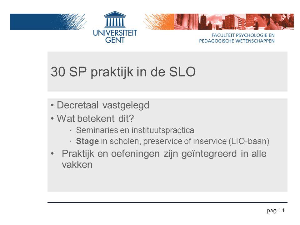 30 SP praktijk in de SLO Decretaal vastgelegd Wat betekent dit? ‧ Seminaries en instituutspractica ‧ Stage in scholen, preservice of inservice (LIO-ba
