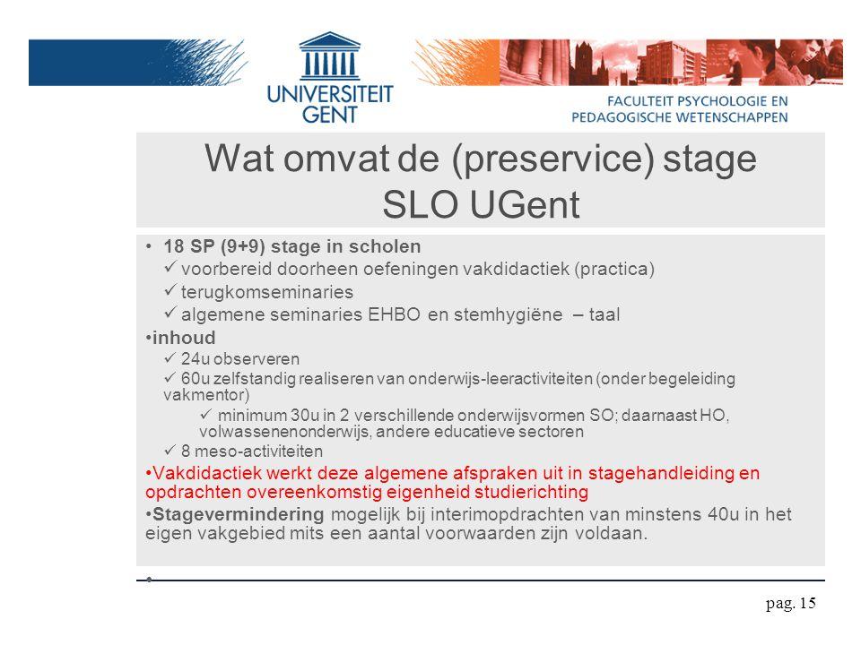 Wat omvat de (preservice) stage SLO UGent 18 SP (9+9) stage in scholen voorbereid doorheen oefeningen vakdidactiek (practica) terugkomseminaries algem
