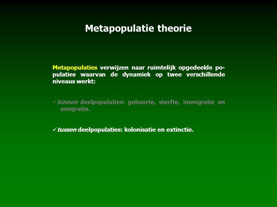 Metapopulatie theorie Metapopulaties verwijzen naar ruimtelijk opgedeelde po- pulaties waarvan de dynamiek op twee verschillende niveaus werkt: binnen