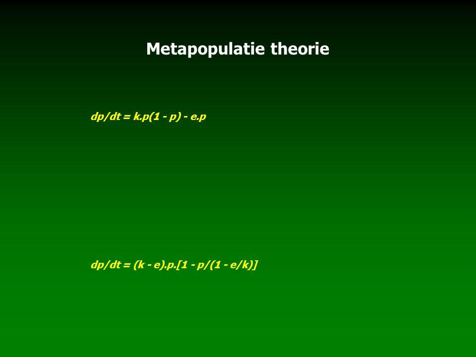 Metapopulatie theorie dp/dt = k.p(1 - p) - e.p dp/dt = (k - e).p.[1 - p/(1 - e/k)]