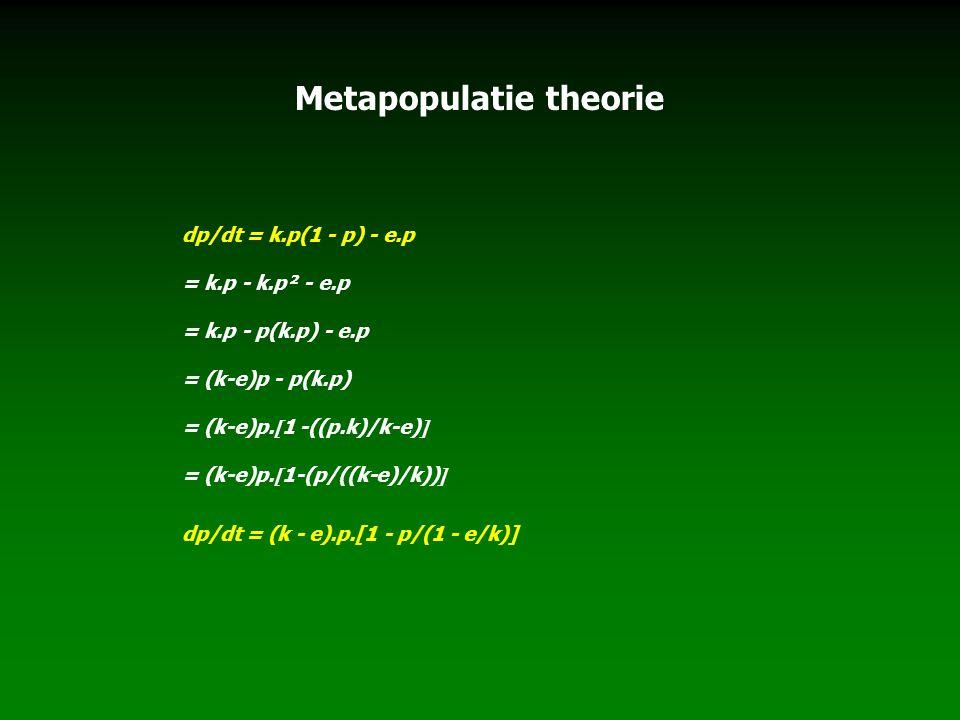 Metapopulatie theorie dp/dt = k.p(1 - p) - e.p = k.p - k.p² - e.p = k.p - p(k.p) - e.p = (k-e)p - p(k.p) = (k-e)p.  1 -((p.k)/k-e)  = (k-e)p.  1-(p