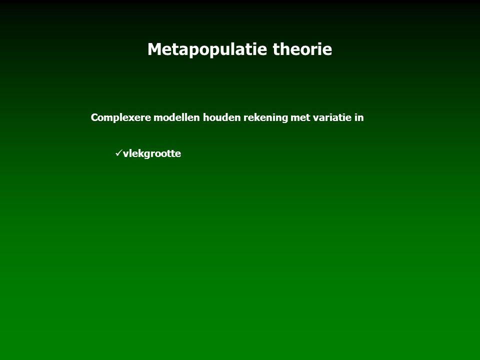 Metapopulatie theorie Complexere modellen houden rekening met variatie in vlekgrootte