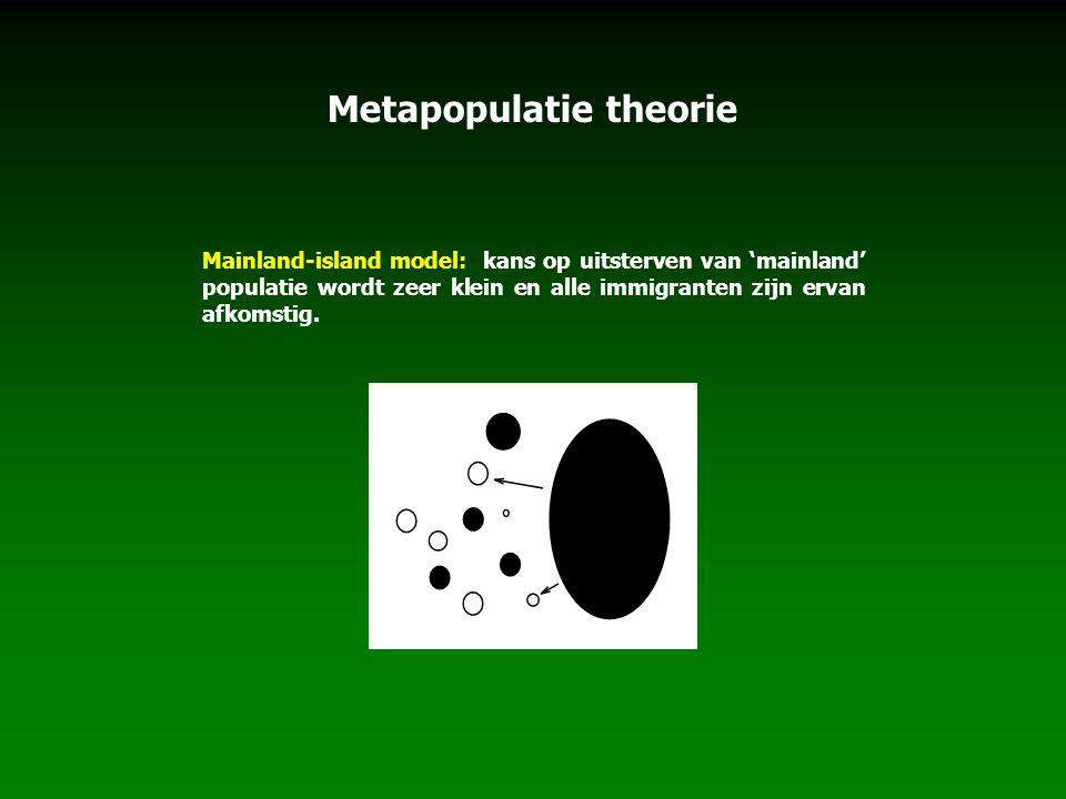 Metapopulatie theorie Mainland-island model: kans op uitsterven van 'mainland' populatie wordt zeer klein en alle immigranten zijn ervan afkomstig.