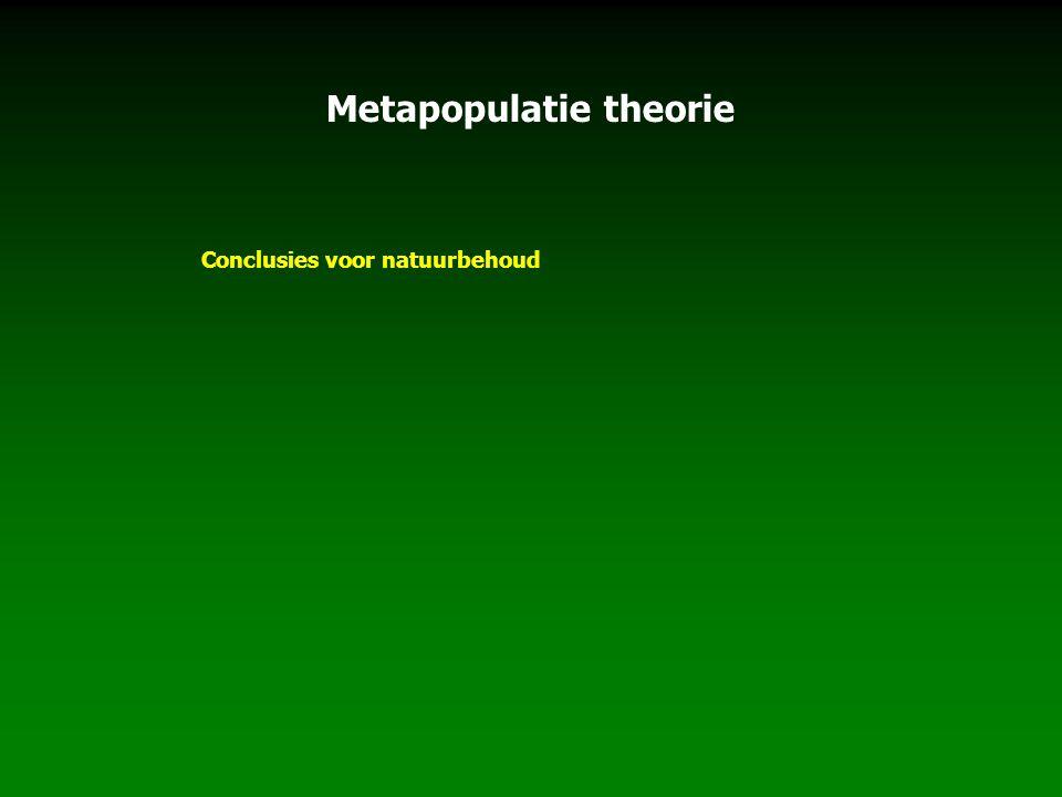 Metapopulatie theorie Conclusies voor natuurbehoud