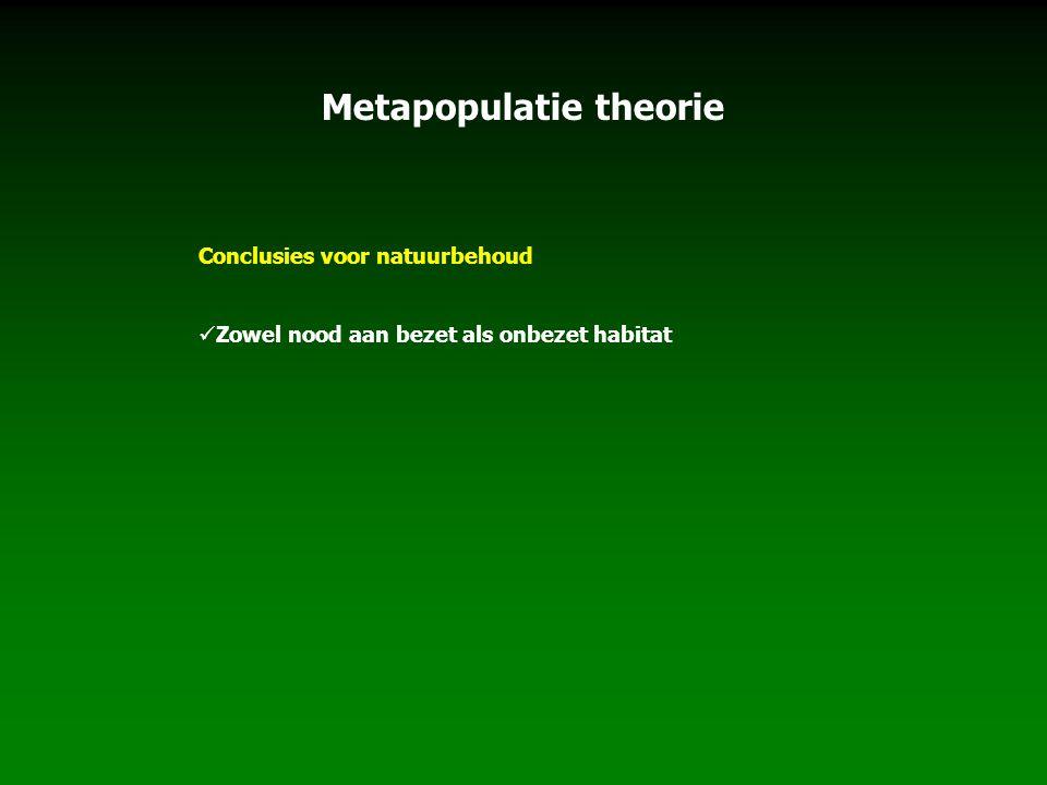 Metapopulatie theorie Conclusies voor natuurbehoud Zowel nood aan bezet als onbezet habitat