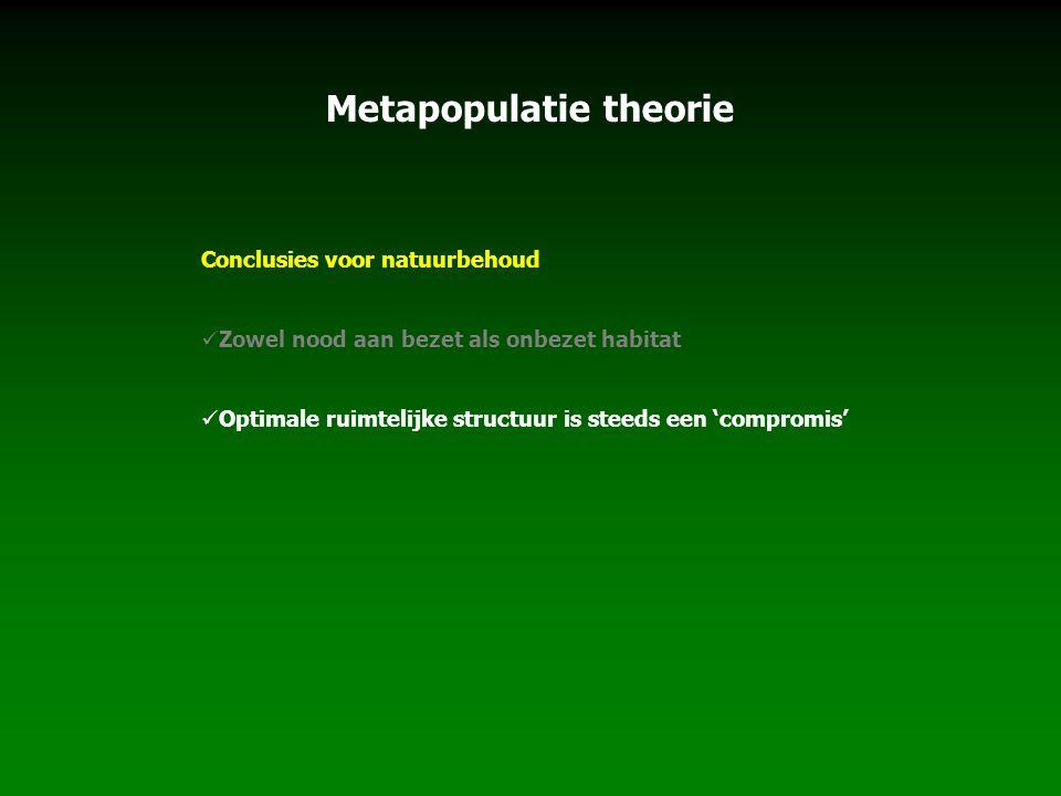 Metapopulatie theorie Conclusies voor natuurbehoud Zowel nood aan bezet als onbezet habitat Optimale ruimtelijke structuur is steeds een 'compromis'