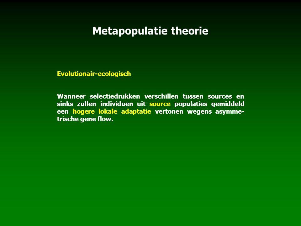 Metapopulatie theorie Evolutionair-ecologisch Wanneer selectiedrukken verschillen tussen sources en sinks zullen individuen uit source populaties gemi