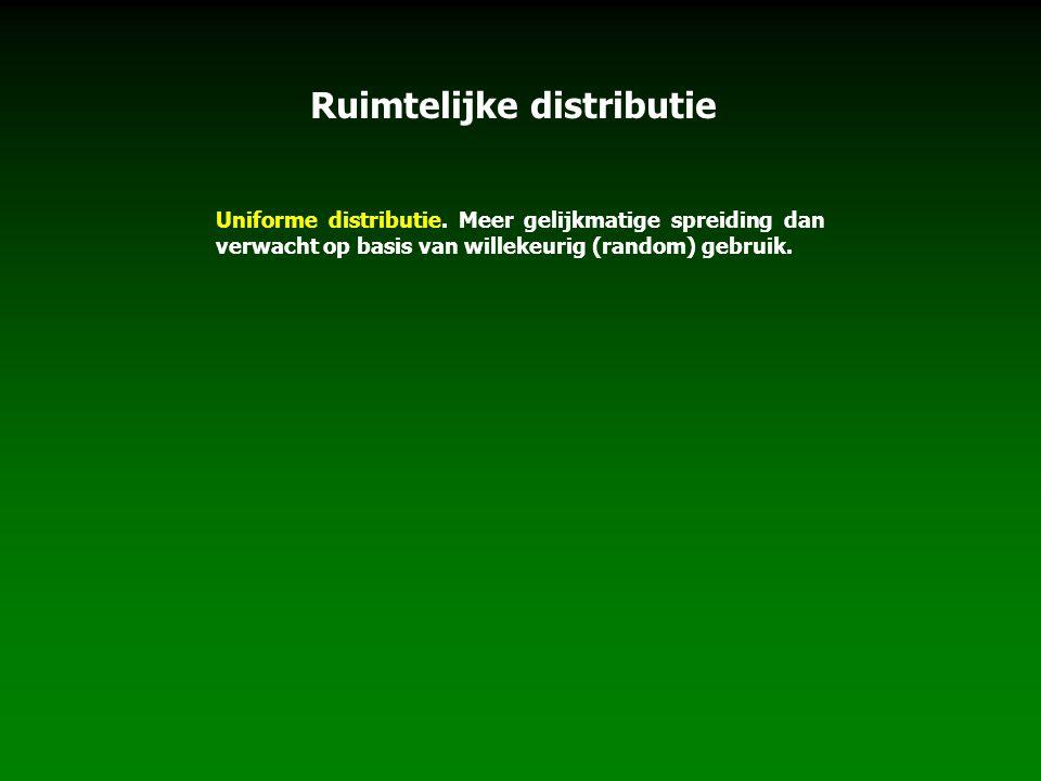 Uniforme distributie. Meer gelijkmatige spreiding dan verwacht op basis van willekeurig (random) gebruik. Ruimtelijke distributie