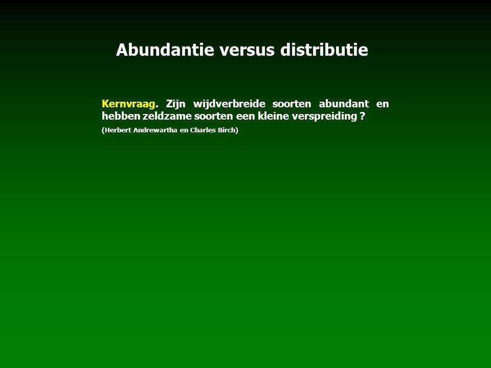 Kernvraag. Zijn wijdverbreide soorten abundant en hebben zeldzame soorten een kleine verspreiding ? (Herbert Andrewartha en Charles Birch) Abundantie