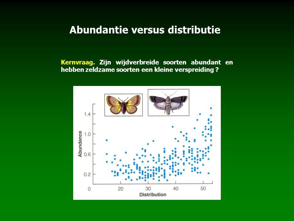 Kernvraag. Zijn wijdverbreide soorten abundant en hebben zeldzame soorten een kleine verspreiding ? Abundantie versus distributie