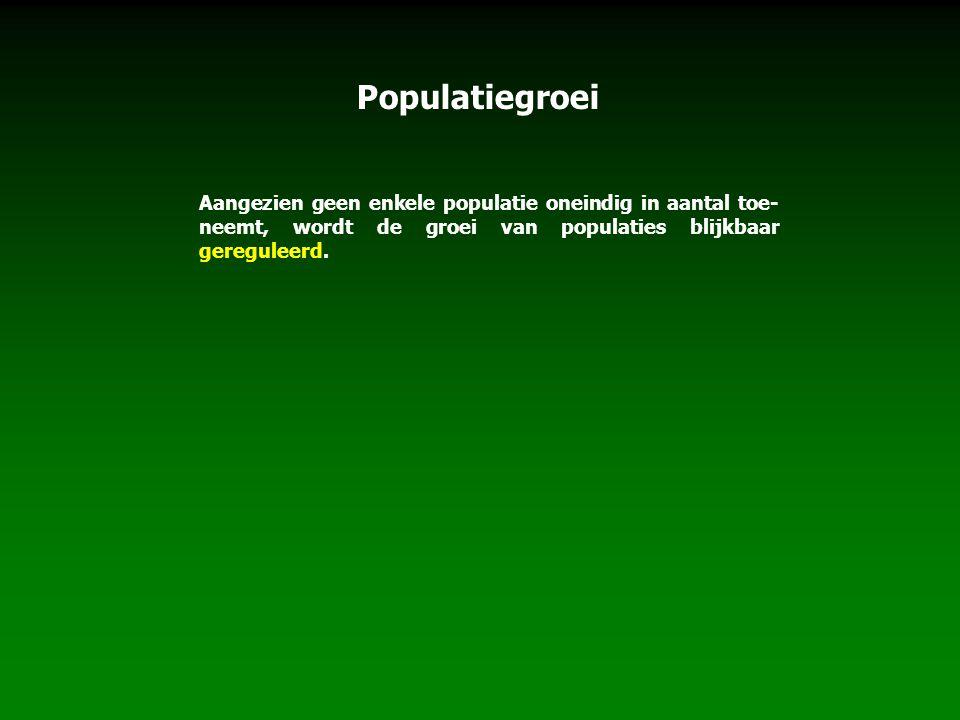 Aangezien geen enkele populatie oneindig in aantal toe- neemt, wordt de groei van populaties blijkbaar gereguleerd.