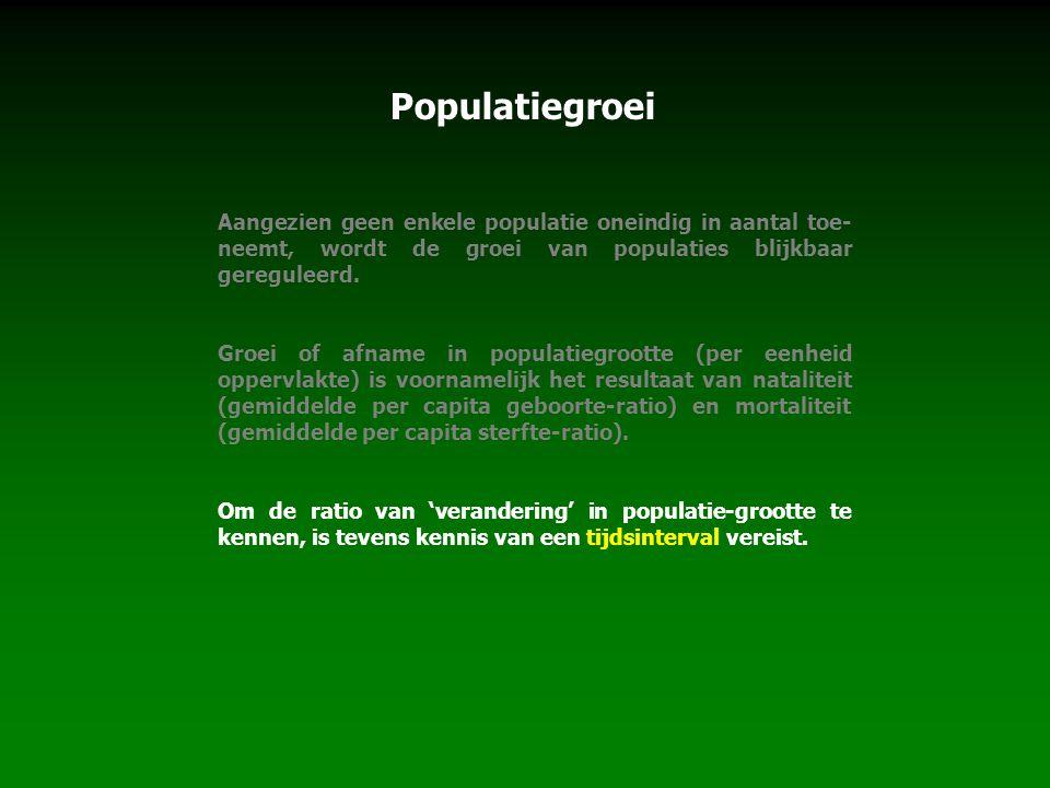 Populatiegroei Aangezien geen enkele populatie oneindig in aantal toe- neemt, wordt de groei van populaties blijkbaar gereguleerd. Groei of afname in