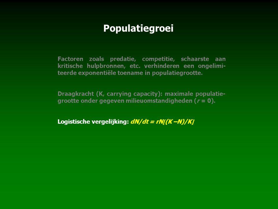 Populatiegroei Factoren zoals predatie, competitie, schaarste aan kritische hulpbronnen, etc. verhinderen een ongelimi- teerde exponentiële toename in