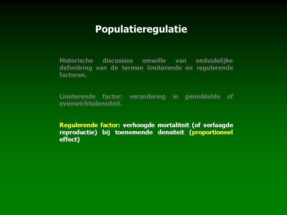 Populatieregulatie Historische discussies omwille van onduidelijke definiëring van de termen limiterende en regulerende factoren. Limiterende factor: