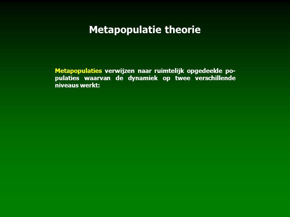 Metapopulatie theorie Metapopulaties verwijzen naar ruimtelijk opgedeelde po- pulaties waarvan de dynamiek op twee verschillende niveaus werkt: