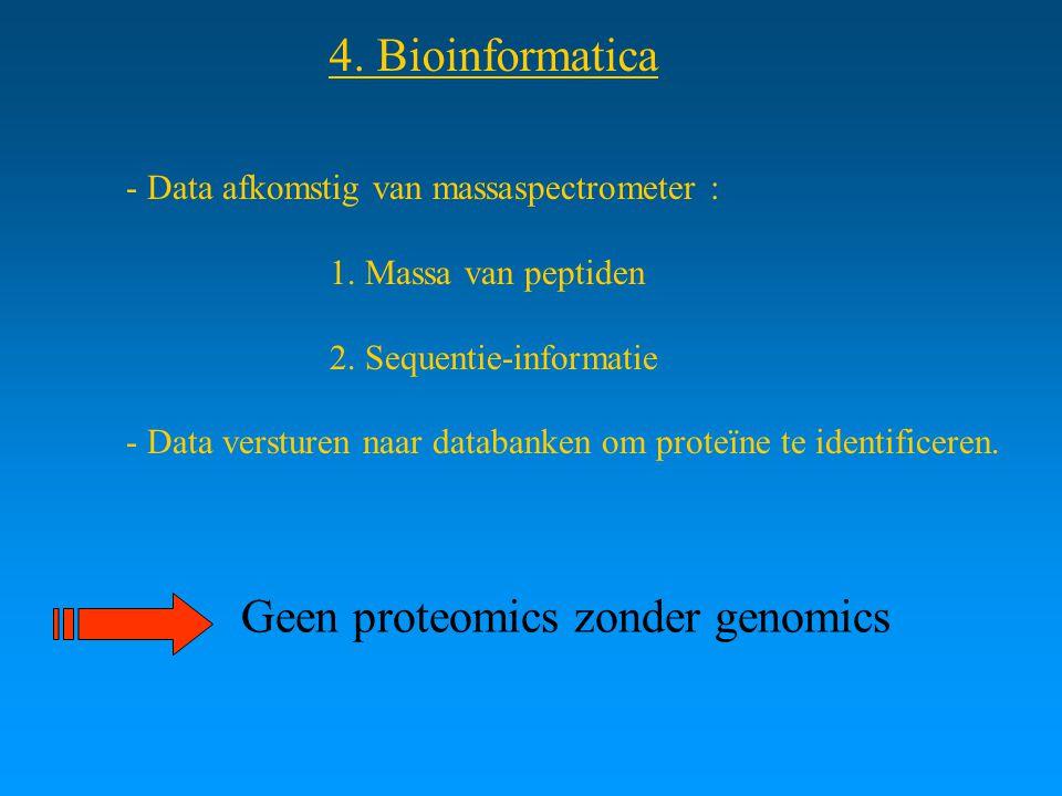4. Bioinformatica - Data afkomstig van massaspectrometer : 1. Massa van peptiden 2. Sequentie-informatie - Data versturen naar databanken om proteïne