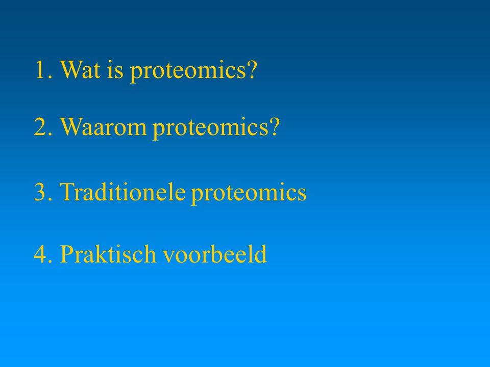 1. Wat is proteomics? 2. Waarom proteomics? 3. Traditionele proteomics 4. Praktisch voorbeeld